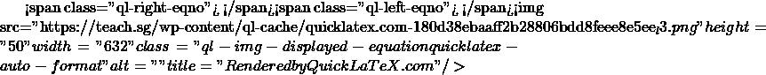 "<span class=""ql-right-eqno"">   </span><span class=""ql-left-eqno"">   </span><img src=""https://teach.sg/wp-content/ql-cache/quicklatex.com-180d38ebaaff2b28806bdd8feee8e5ee_l3.png"" height=""50"" width=""632"" class=""ql-img-displayed-equation quicklatex-auto-format"" alt=""\begin{align*} & \text{repeat until convergence:} \; \lbrace \newline  \; & \theta_j := \theta_j - \alpha \frac{1}{m} \sum\limits_{i=1}^{m} (h_\theta(x^{(i)}) - y^{(i)}) \cdot x_j^{(i)} \;  & \text{for j := 0..n} \newline \rbrace \end{align*}"" title=""Rendered by QuickLaTeX.com""/>"